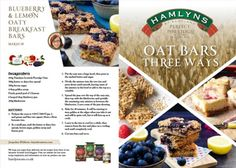 Easy blueberry and lemon oaty breakfast bars. These delicious oaty bars or flapjacks as they are known in Scotland, are perfect for breakfast on the go or a mid-morning or afternoon energy boost. Breakfast On The Go, Breakfast Bars, Healthy Breakfast Snacks, Scottish Recipes, Oat Bars, Leaflets, Biscuit Recipe, Blueberry, Biscuits