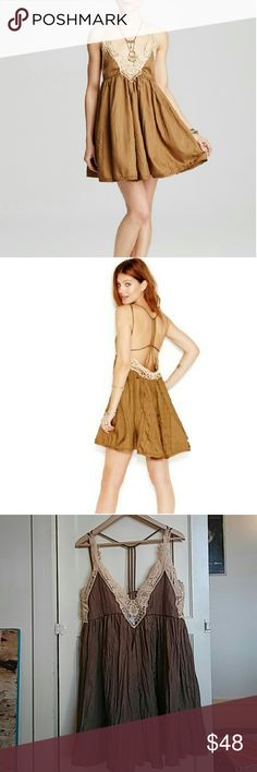 Free People Dress Spring is coming up!!  Crinkly fabric, adorable straps and crochet embellishments.  NWT Free People Dresses