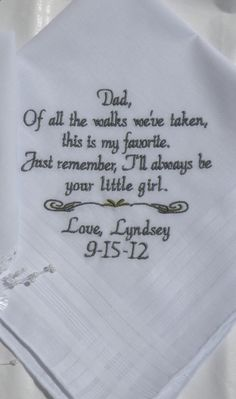 Wedding Gift For Father Remarrying : Wedding Gift For Father of the Bride Embroidered Wedding Handerchief ...