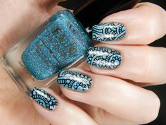 Fun Lacquer 'Daydreamer' over CBL 'Young Turks' stamped with Born Pretty plate BP-48 ~ by Better Nail Day
