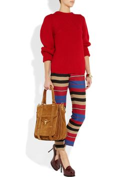 Carven striped ottoman pants, Chloe sweater, Proenza Schouler bag, and YSL shoes