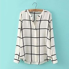 Women's V Neck Black And White Plaid Cotton Long Sleeves Casual Shirts - USD $ 22.19