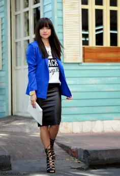 Royal blue blazer, leather pencil skirt and Schutz sandals for spring look