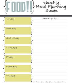 Weekly printable meal planning chart- need to make one of these, possibly by the month??