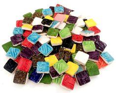100 Handmade SQUARE MOSAIC Tiles - Multi Colored
