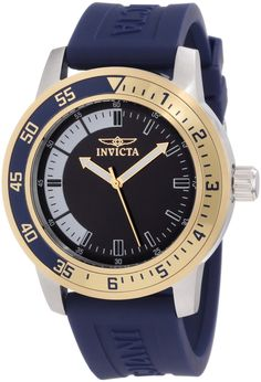 Invicta Men's 12847 Specialty Blue Dial Watch with Gold/Blue Bezel - - Sport meets style in this active watch design by Invicta's Speciality collection. The unqiue bezel stands out over a branded rubber str Daniel Wellington, Cool Watches, Watches For Men, Wrist Watches, Invicta Specialty, Tommy Hilfiger, Brand Name Watches, Blue Band, Cool Things To Buy