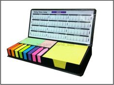 NEW STICKY MEMO POST IT NOTE CALENDAR SET FAUX LEATHER CASE PLANNER UNI COLLEGE STUDENT EXAM REVISION £4 bargain
