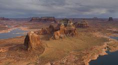 Dominguez, Boundary and Tower Buttes near Labyrinth Canyon Inlet. Glen Canyon - Utah/Arizona, USA