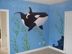 Underwater Themed Murals for children's rooms by Mural Magic in Ottawa.  Whale, ocean, dream room