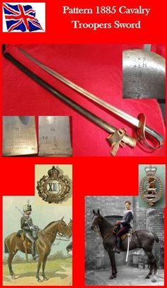 """Pattern 1885 Cavalry Troopers Sword; guard is sheet steel with part rolled edge & pierced Maltese Cross design; checkered black leather 2 piece grip attached to the tang with 5 rivets & back strap has double arrow sale mark; slightly curved blade has a single fuller to each side that ends 8.25"""" from the double edged point; made in 1886 & issued to the 13th Hussars (D sqdn, weapon #33) in Sept. 1888, & then passed on to Hertfordshire Yeomanry (wpn 58) in August.1893 ('YC' = 'Yeomanry…"""