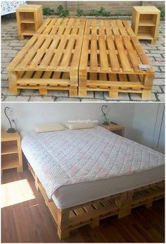 A compact shape of the bed frame has been made the part of this image that is gorgeous created with the wood pallet style into it. It is structurally set into the long lasting working of the wood pallet with the side table coordination being mild in weight and best for the storage working in it.