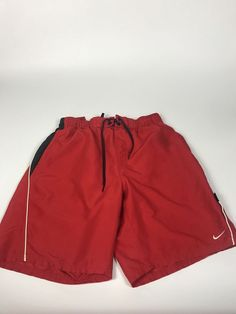 2e035659a441 VINTAGE NIKE SWIM TRUNKS SIZE M RED SOLID NYLON SWOOSH SHORTS Men's