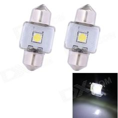 Brand: N/A; Quantity: 2 piece(s); Casing Color: Silver+white+yellow; Emitter Type: In-line LED; Chip Type: Epistar; Total Emitters: 1; Light Color: White; Rated Voltage: 12V; Power: 3 W; Luminous Flux: 210 lm; Color Temperature: 6500 K; Connector Type: Festoon 31mm; Application: Reading lamp; Packing List: 2 x Reading lamps; http://j.mp/1v2TZUi
