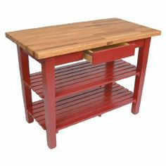 John Boos OC3625-2S-BN Oak Table Boos Butcher Block, 36 in. W x 25 in. D x 35 in. H, with 2 Shelves, Barn Red by John Boos. $701.00. 36 in. W Oak Table Boos Block. With 2 Painted Slatted Wood Shelves. 2 Painted Slatted Wood Shelves. Boos Block Cream w/ Beeswax Finish. 1-1/2 in. Appalachian Red Oak Finger Jointed Top. Featuring a 1-1/2 in. thick Appalachian red oak finger jointed top, this 36 in. W Oak Table Boos Block by John Boos is the perfect addition to any ...