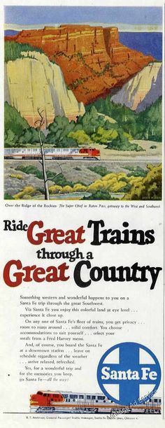 ATSF Railway - Santa Fe Super Chief at Raton Pass, NM - CO Border - Vintage Rail Poster