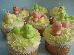 Amazing ideas of decorating Baby Shower cupcakes! Baby Shower Cupcakes, Shower Cakes, Shower Baby, Bridal Shower, Mini Cakes, Cupcake Cakes, Cupcake Art, Baby Cakes, Fancy Cupcakes