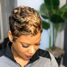 Photo by Sharon Blackman in Trendy Looks Hair Studio. Image may contain: one or more people and closeup Short Sassy Hair, Short Grey Hair, Short Hair Cuts, Black Hair, Mommy Hairstyles, Cute Hairstyles For Short Hair, Saree Hairstyles, Korean Hairstyles, Bandana Hairstyles