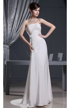 Simple Church Column Strapless Sleeveless Ruching Bridal Gowns