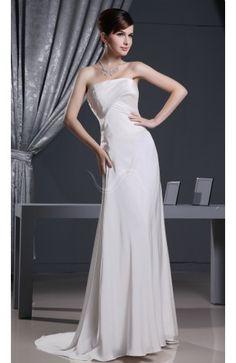 Simple Church Column Strapless Sleeveless Ruching Bridal Gowns
