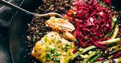 Perfect Baked Salmon with  Lentils, Quinoa, and Lemon Sauce
