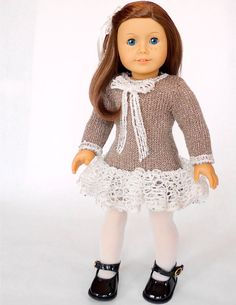 Doll clothes knitting pattern PDF for 18 inch American Girl type doll (AG doll): Christmas Holiday Dress
