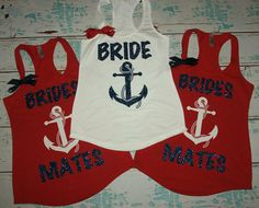 Bridesmates shirts with anchor (3) Nautical Theme Bridesmaids Tank Tops. Brides Entourage. Nautical wedding shirts. bachelorette tanks.