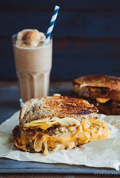 Grilled Cheeseburger  Toasted Smore Milkshake