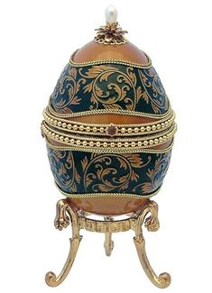 Genuine+Faberge+Eggs | Faberge Style Goose Egg Russian Royal Jewelry Box