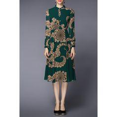 Printed Chiffon Dress (335 PEN) ❤ liked on Polyvore featuring dresses, green chiffon dress, chiffon dress, chiffon shirt dress, green shirt dress and t-shirt dresses