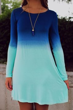 Jewel Neck Ombre Long Sleeve Dress