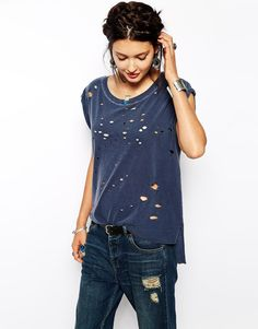 Free People Muscle T-Shirt with Holes
