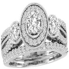White Gold Halo Shape Style With Round Center Diamond 0.27ct And Round Diamonds Bridal Ring Set (1.01ct. tw) - 23153906