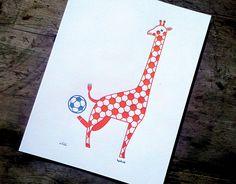 Soccer Giraffe  limited editon letterpress print by byvikINK, $30.00