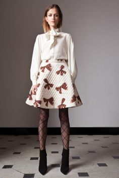 ALICE by Temperley Pre Fall 14, Tuxedo Bow Shirt, Rossi Skirt