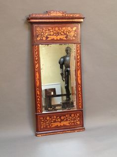 A 19thc Tall Dutch Marquetry Wall Mirror