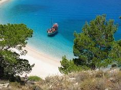 Apella beach. Karpathos, Greece. Karpathos is an island between Rhodos and Crete. Beaches on the east coast (north from the main city) really looks like from the travel catalogue.