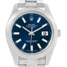 14784f6f0b2 19194 Rolex Datejust II Blue Baton Dial Stainless Steel Mens Watch 116300  SwissWatchExpo Rolex Watches