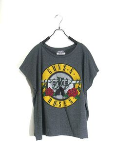 Guns n Roses,women tshirt , dark gray shirt, crop top tank, women clothing, vest, rock tunic, Free size