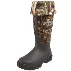 "The Original MuckBoots Woody Bayou Outdoor Boot Muck Boot. $214.95. synthetic. Rubber sole. 100% waterproof, lightweight, and flexible. Stretch-fit topline binding snugs leg to keep warmth in and cold out. Advantage Max4 Camo. Heel measures approximately 2"". Boot opening measures approximately 14 1/2"" around. Additional achilles reinforcement for added protection. Hidden, extendable skirt with snap closure for multifunction use. Shaft measures approximately 14"" from arch. Platfo..."
