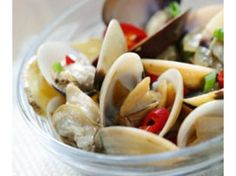 Clams in Chinese rice wine, ginger and chili | Like mussels, remove them once they start opening so that you will not overcook them.