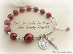 Beautiful Red Swarovski Pearl & Silver Rosary Bracelet