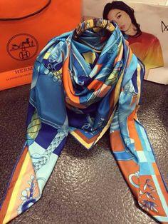 burberry silk scarf outlet g2qx  Shawl Hermes #Silk twill scarf in 100% silk Scarf Sky-blue