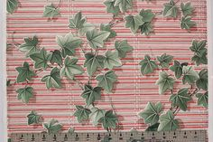 1930's Vintage Wallpaper Ivy on Red and Gray by RosiesWallpaper