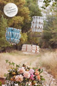 diy ribbon wallpaper lanterns