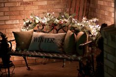 love the garland and lights on the bench