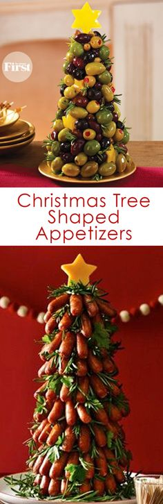 Christmas Tree Shaped Appetizers perfect for a Holiday Party!