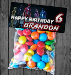 Custom Power Rangers Movie Candy Bag Topper - Birthday Favors