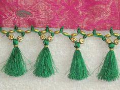 Saree Tassels Designs, Saree Kuchu Designs, Saree Accessories, Saree Painting, Gold Jhumka Earrings, Passementerie, Tassel Jewelry, Saree Dress, Beautiful Saree