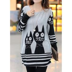 Sweet Style Scoop Neck Cat Print Striped Long Sleeve Loose Fit T-Shirt For Women     (03.24.15)
