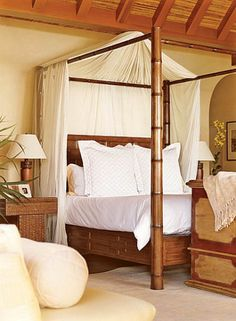 Tropical bedroom decor on pinterest bedrooms tropical for Tropical canopy bed